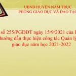 Công văn số 255/PGDĐT về việc hướng dẫn thực hiện công tác quản lý chất lượng giáo dục năm học 2021-2022